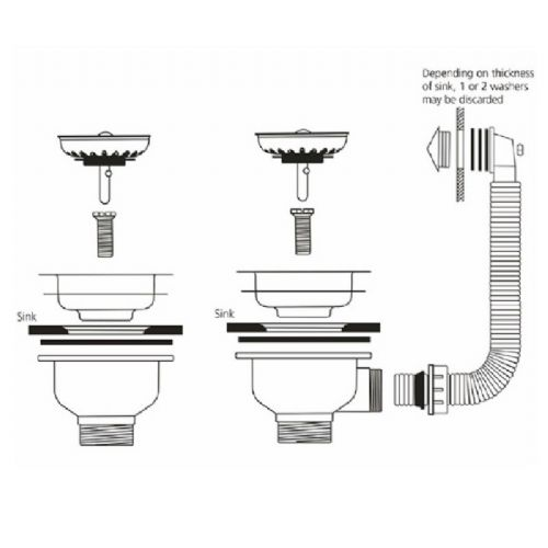 Caple CPK2701 Stainless Steel Waste and Round Overflow Kit